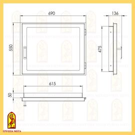 Печная дверь ДК690-1С сталь термостойкое стекло